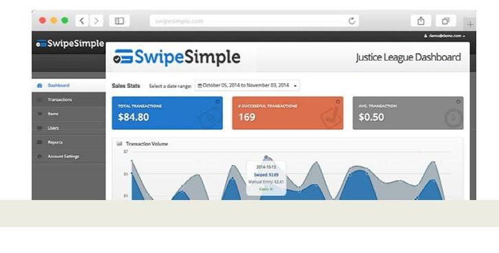 The Swipe Simple Web Dashboard